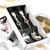 ingrosso favori di nozze forchetta cucchiaio-Bella 2 in1 cuore di amore di forchetta amante cucchiaio favori di nozze dono in acciaio inox cena tavola posate