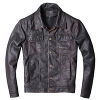 primeiro jaquetas de couro da motocicleta venda por atacado-Handmade jaqueta de couro denim apagável primeira camada de couro genuíno dos homens de couro plus size ferramental jaqueta jaqueta de motocicleta
