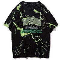 Wholesale tshirt long hip hop resale online - 2019 T Shirt Mens Hip Hop Dark Lightning Tshirt Streetwear Summer Cotton Harajuku T Shirts Short Sleeve Casual Tops Tees