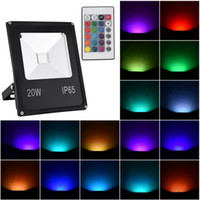 Wholesale rgb led controlled floods resale online - US Stock Outdoor Led Flood Light IP65 Waterproof W RGB Dimmable Color Changing Security Floodlight with Remote Control for Home