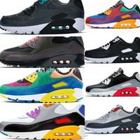 klasik spor stili toptan satış-Koşu Ayakkabıları Klasik 90 BETRUE Erkekler ve Kadınlar Stil Siyah Kırmızı Renkli Beyaz Trainer Hava Yastığı Yüzey Nefes Spor Sneakers 36-45