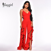 7a5b6a38da9c Slaygirl Jumpsuits for women 2019 fashion Womens rompers Party Clubwear Jumpsuit  Sexy Ruffles Red Long Trousers Pants Overalls