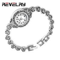 старинные серебряные браслеты смотреть оптовых-Разгул Luxury Antique Silver наручные часы турецкий горный хрусталь браслет женские часы Vintage Женева дизайнер кварцевые часы женщин