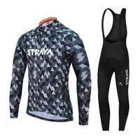 bisiklet takım giysileri uzun toptan satış-2018 strava bisiklet forması Uzun Kollu Bisiklet Formaları giyim bisiklet forması Takım bisiklet bisiklet seti