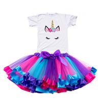años de ropa casual al por mayor-2019 Chica Unicornio Vestido Tutu Rainbow Princess Girls Party Dress Toddler Baby 1 a 8 Años Cumpleaños Trajes Niños Niños Ropa