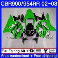 ingrosso cuscini neri cbr954rr-Bodys per HONDA CBR900RR CBR 954 RR CBR954RR 02 03 Nero lucido verde CBR900 RR 280HM.49 CBR 900RR CBR954 RR CBR 954RR 2002 2003 Kit carenatura