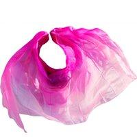 bauchtanz rosa schleier großhandel-Seiden-Bauchtanz-Schleier Bauchtanz-Schleier-Schal Rose + Pink Colors Practice Performance Silk Veils 250/270 * 114 cm