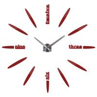 современные самоклеящиеся настенные часы оптовых-Время Большой Размер Современный DIY Безрамное 3D Большая Зеркальная Поверхность Настенные Часы Часы Главная Гостиная Спальня Офис Украшения Самоклеющиеся Стены