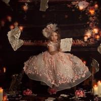 joyas para niños al por mayor-Blush Pink Princess Vestidos de niñas de flores para boda Cuello joya 3D Floral Bead Vestido de desfile para niños Vestido de fiesta Vestidos de comunión para niños pequeños