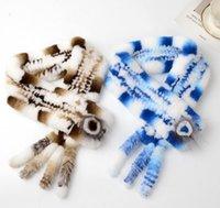 bufanda de zorro azul al por mayor-Travieso fresco niñas Fox Tail Diseño Bufanda Piel verdadera hierba de conejo Rex bufanda de la piel femenina Cruz cálido invierno bufandas azul marrón rosado 5pcs / DHL conjunto