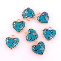 Wholesale heart floating resale online - 50pcs Moon planet Enamel Pendant Charms Heart Gold color Oil Drop Floating Charms DIY Bracelet Jewelry Accessory
