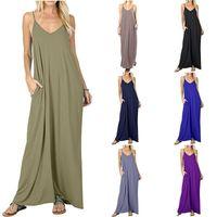 Camisole Dress Long Skirt Romper Solid Color Pocket Pleated Skirt Mid Waist Sling Plain Pocket Vest 4