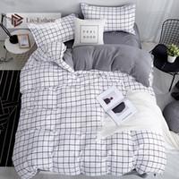 Wholesale baby bedding set pcs crib for sale - Group buy Liv Esthete Fashion Classic Black Grid Bedding Set Double Queen King Bed Linen Soft Duvet Cover Pillowcase Flat Sheet For Adult Y200111