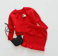 vestuário sem marca venda por atacado-Conjuntos de Roupas infantis Crianças Blusas Roupas de Menina Tricô Terno De Lã 2 PCS sem saco Para 1 ~ 3 Y 4 PCS