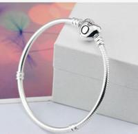 925 armband 3mm großhandel-2018 marke Original 925 Silber herz verschluss Perlen 3mm Schlangenkette Armbänder Fit Europäischen Pandora herzanhänger Armband DIY Modeschmuck