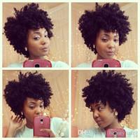señoras peinados cortos y rizados al por mayor-Hot lady's the hairstyle short cut pelucas rizadas African Ameri Brazilian Hair Simulation Cabello humano Rizado peluca