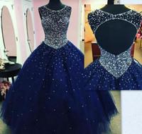 ingrosso vestito royal buio-2019 Quinceanera Abiti Ball Gown Principessa Puffy Dark Royal Blue Tulle Masquerade Sweet 16 Vestito Backless Prom Dress abiti da 15 anos