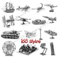 brinquedos educativos ursinhos venda por atacado-Metal 3D Puzzle 168 estilos montagem brinquedos modelo DIY figuras do filme avião famoso edifício puzzle para crianças presentes adultos DHL
