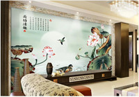 Wholesale lotus wallpaper home resale online - Custom photo murals wallpaper d mural wallpapers d Lotus flower landscape scenery mural HD background wall painting wall papers home decor