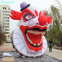 Wholesale clown puppets resale online - 4m Scary Puppet Head Red Awesome Inflatable Clown Halloween Ghost Knave Inflation