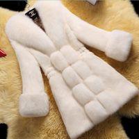 корейский модный мех оптовых-2018 winter Faux fur coat women Korean  fur collar Warm coat  hair cuffs jacket fashion Plus size long 5XL 6XL