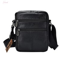 Wholesale first cell phones resale online - The First Layer Of Cow Leather Mens Business Messenger Bags Zipper Design Solid Black Genuine Leather Shoulder Bag For Men