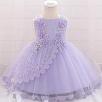 vestidos infantiles para boda púrpura al por mayor-Vestido púrpura para bebés 100% algodón Sleevelees Vestido de niña bebé de encaje Princesa Cumpleaños y boda para niña