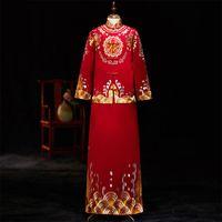 ingrosso gli abiti da sera degli uomini-Royal Qipao Embroidery Men Long Robe Gown Satin Costume in stile cinese Oriental Toast Clothing 2pcs Wedding Sposo sera