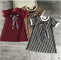 kızlar elbiseler f toptan satış-Tasarımcı F E N D Kız Çocuk Elbiseler Sevimli Elbiseler Zarif Ekose Elbise Kısa Kollu Etek Lüks Logo Bebek Kız giyim
