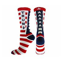 вязаные звезды оптовых-Унисекс президент Трамп письмо чулки полосатые звезды флаг США вязать спортивные носки чулки хип-хоп мага носок уличная LJJA2614