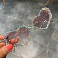 Wholesale heart shaped sunglasses women red resale online - 2019 vintage cat eye diamond heart shape sunglasses women pink lens rhinestone sexy eyeglasses uv400 glasses