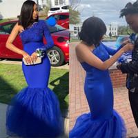 un vestido del baile de fin de curso del tul del hombro al por mayor-Sirena azul real vestidos de fiesta para niñas negras sudafricanas sexy apliques de encaje de un hombro tul vestidos de noche formales