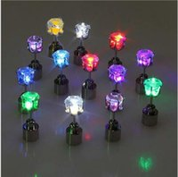 Wholesale dance earrings studs resale online - Light Up LED Earrings studs Flashing Studs Stainless Steel Blinking Studs Dance Party Accessories Novelty Lighting