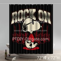 Wholesale Funny Print Snoopy Rock On Fabric Bathroom Shower Curtains