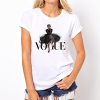 camisas graciosas impresas al por mayor-VOGUE Camiseta con estampado de dama 2019 Moda de verano Camiseta de las mujeres Camisetas divertidas Harajuku camiseta de manga corta camisetas casuales lovrly tops