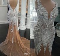 arabische brautkleider perlen großhandel-2019 Dubai Arabisch Luxus Mermaid Brautkleider Perlen Kristalle Rhinetone Sweep Zug Sparkly Afrikanische Brautkleid Brautkleider Gewand