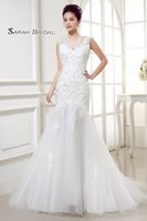 Wholesale sexy wedding dresses stock for sale - Group buy Tulle V neck Backless Wedding Dresses In Stock Sheer Bodice Sleeveless Bridal Gowns Sexy Beach Wedding Dress Cheap TJ020
