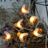 ingrosso matrimonio lampada notturna-Ape LED String Light Decorazioni natalizie Luci USB impermeabili con telecomando Lampada da fata Decorazione natalizia da giardino per feste di nozze di Natale