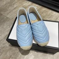 Wholesale espadrilles sandals resale online - Branded cowskin leather espadrilles slides flat heel designer sandals pink blue black luxury fashion women shoes size to tradingbear