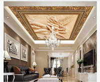 Wholesale silk carves for sale - Group buy 3D custom silk zenith ceiling photo mural wallpaper European wood carving couple angel living room zenith ceiling mural interior decoration