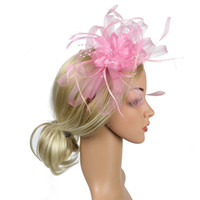 5ce256fa276255 Party Hat Gift Wedding Banquet Bowknot Bridal Fedoras Day Cocktail Women Fascinator  Headband Feather Mesh Hair Accessory