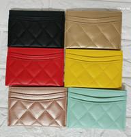 kart cüzdanı kadın cüzdan toptan satış-Marka tasarımcısı Klasik Lüks Kredi Kartı Tutucu Cüzdan Kart Durumda kadınlar için Moda Ince Para Çanta Cüzdan
