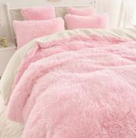 Wholesale korean pink bedding resale online - 2018 New Contracted Korean Bedding Sets Beautiful Velvet Bedding Bag Lambs Wool Pure Color Falbala Bed Skirt