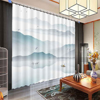Wholesale 90 inch shower curtain resale online - Ink landscape birds D Window Curtains Living Room bedroom Drapes Rideaux factory Customized size shower Shading cloth