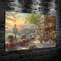 ingrosso tessuto di stampa alimentare-Stampato HD Thomas Kinkade Pittura a olio Decorazione della casa Arte della parete su tela French Riviera Café Senza cornice