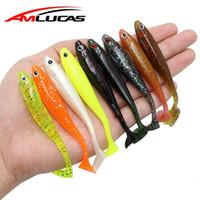 Wholesale jig lure tail resale online - Amlucas Jig Head Soft Lure cm g Artificial Fishing Bait Abdomen open Paddle Tail Swimbait Bass Minnow Rubber Fish WW142 T191016