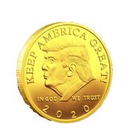 ingrosso migliori tendaggi a parete-Moneta commemorativa di Donald Trump Presidente americano Monete d'oro Collezione artigianale Commemorativa Presidente 45 ° Presidente spedizione gratuita