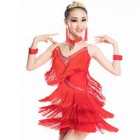 Wholesale new arrival dress for children resale online - New Arrival Latin Dance Dress For Girls Children Thick Fringe Dance Wear White Tango Dress Competitive Black Latin BL1661