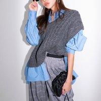 ropa de moda femenina coreana de otoño al por mayor-Casual tejer chaleco de las mujeres con cuello en V suéteres gruesos calientes de Corea del chaleco femenino otoño invierno Moda de Nueva Ropa