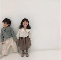 muchachos camisas grises al por mayor-Venta al por mayor Baby Boy Girl camiseta azul marino de algodón de manga larga blanco gris niñas Tops ropa de bebé 1-4 años E19024